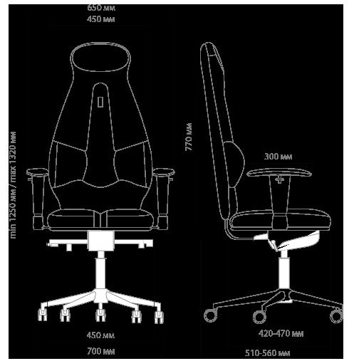 Габариты кресла KULIK SYSTEM GALAXY