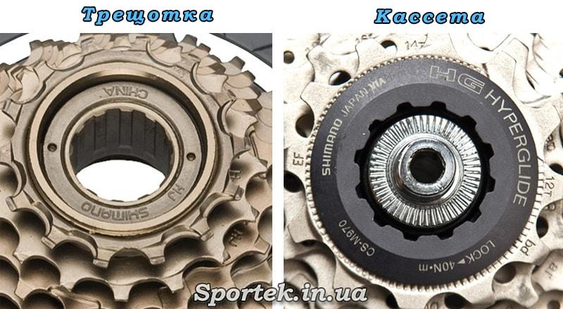 Визуальные различие кассеты и трещотки на велосипеде