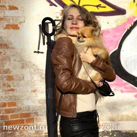 Дама с собачкой и зонтиком