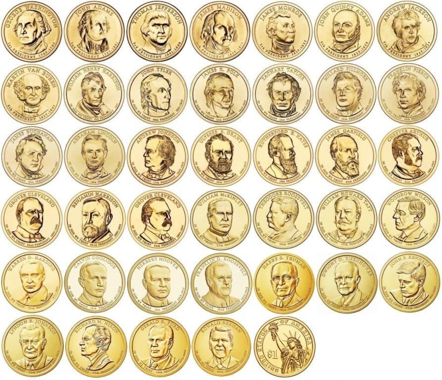 Набор президентских долларов США 2007-2016