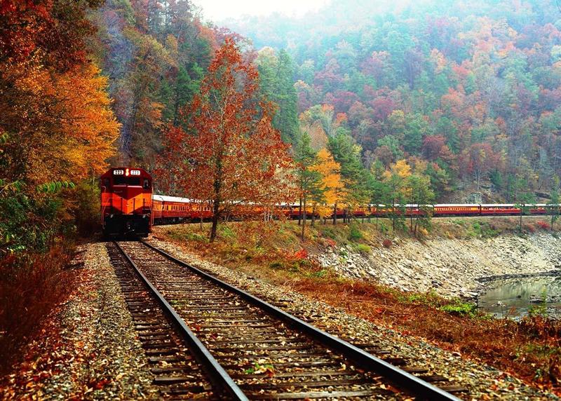 железная дорога, поезд, канада осень