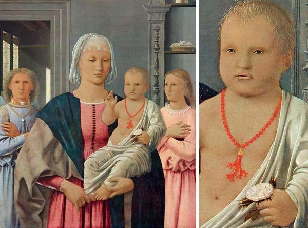 """""""Мадонна ди Сенигаллия"""" (15 век)  младенца с кораллами на шее, сильнейшим оберегом."""