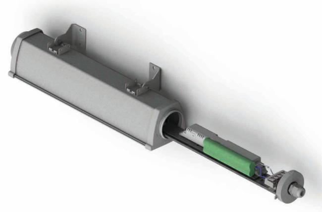 Опция AUTORIPARA SYSTEM может быть использована для резервирования работы основой батареи или использоваться для увеличения светового потока светильника для аварийного освещения производственных помещений