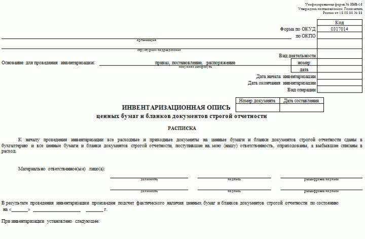 Форма инвентаризационной описи строгоотчетных бланков ИНВ-16