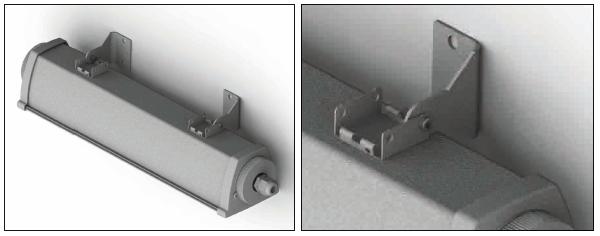 Поворотный кронштейн входит в комплект поставки аварийного светильника для освещения производственных помещений Acciaio Emergency LED