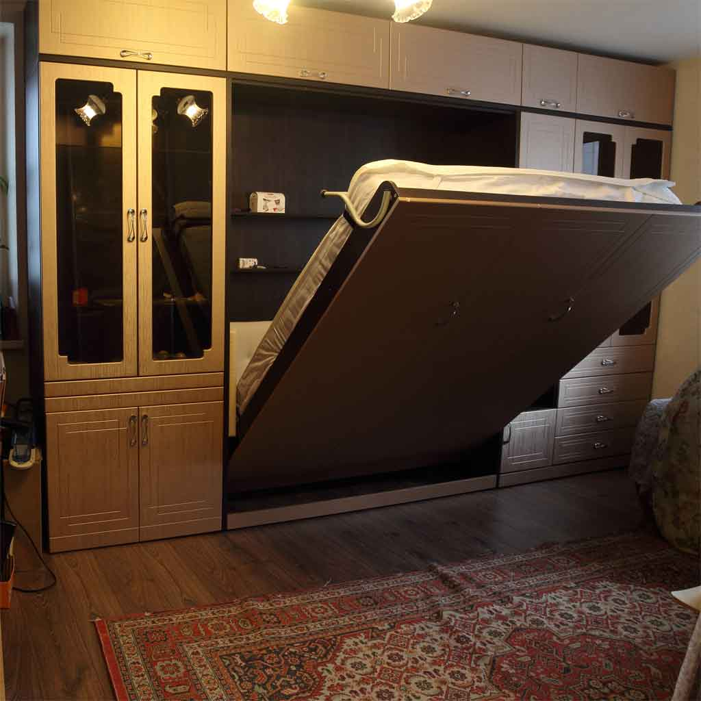 Шкаф-кровать Виктория, фасады МДФ с фрезеровкой Зигзаг