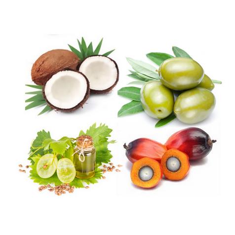 Омыленные масла (кокосовое, оливковое, виноградной косточки, пальмоядровое, пальмовое)