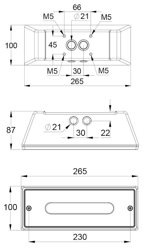 Чертеж светильника рабочего аварийного и эвакуационного освещения STAMINA Line IP65 LOWBAY