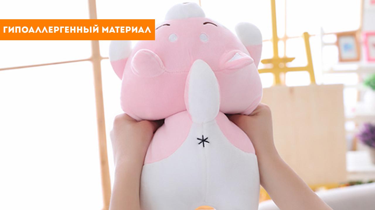 """Игрушка-подушка """"Розовый корги с открытыми глазами"""" (35 см)"""