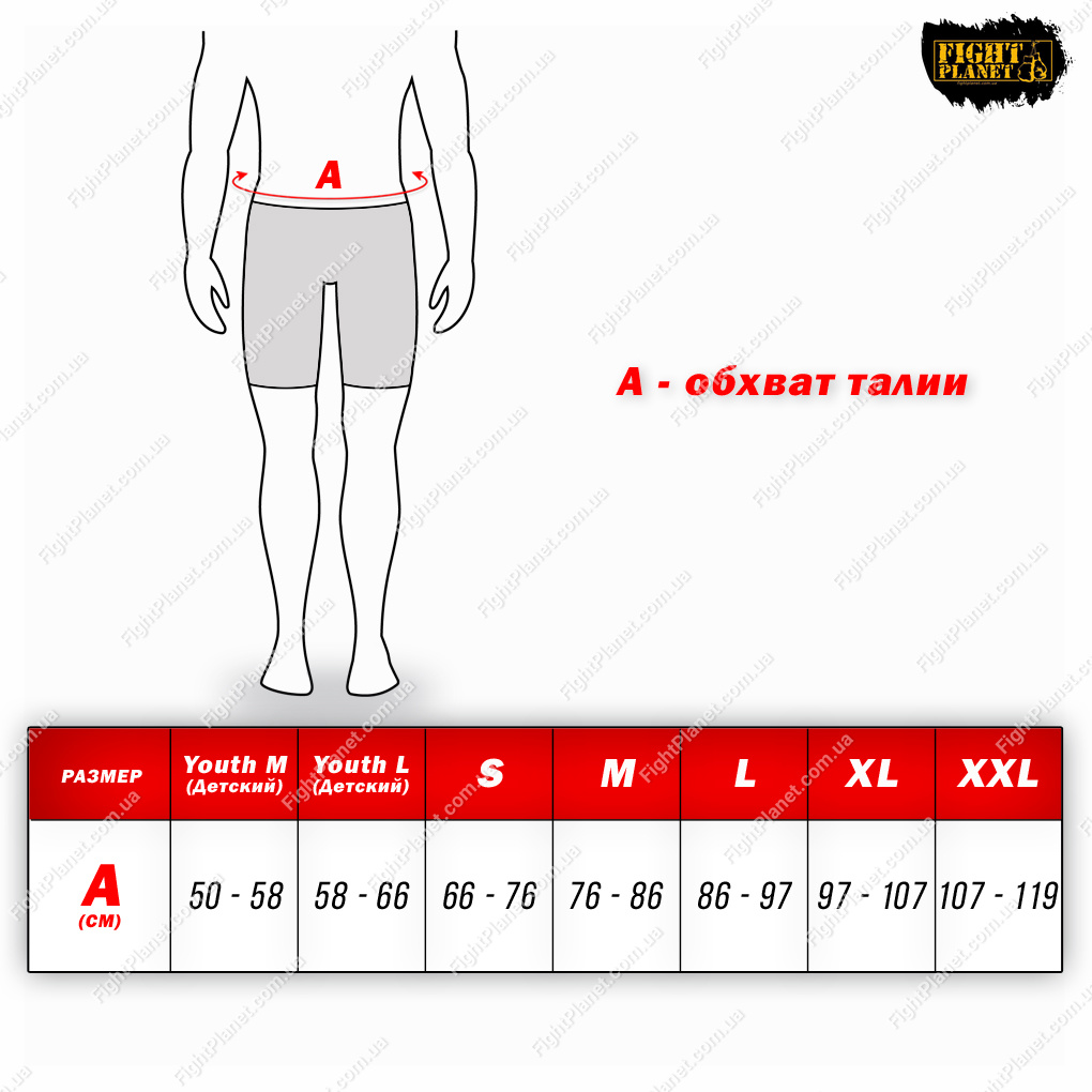 Размерная сетка для шорт Title Boxing