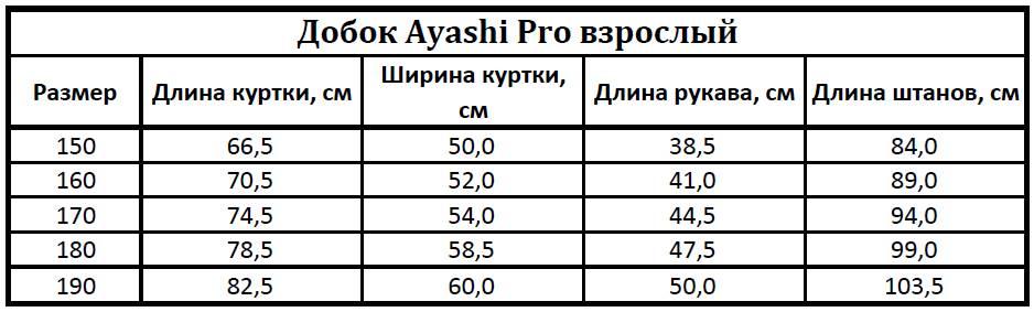 Таблица размеров добка Аяши Про