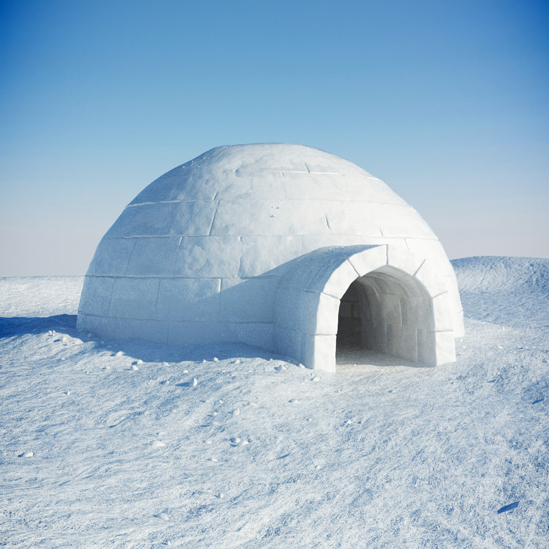Купольный дом Иглу из блоков льда.