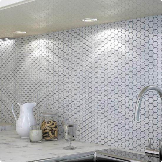 4M088-DP Carrara Мозаика из мрамора 4 мм Natural i-Tilе белый светлый гексагон глянцевый