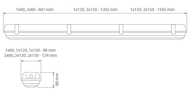 Чертеж светодиодного светильника с функцией аварийного освещения Luvia LED IP65