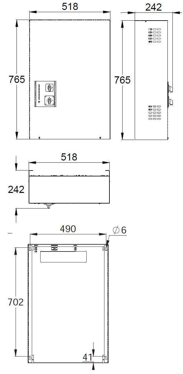Монтажные размеры блока централизованной системы аварийного освещения 220В TKT65B Teknoware