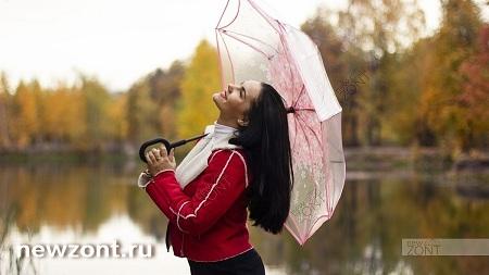 Прозрачный с розовым зонт-наоборот