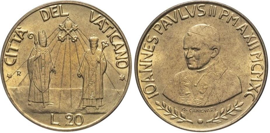 20 ватиканских лир 1990