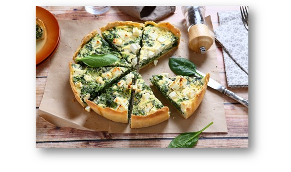 Пирог со шпинатом и сыром, открытый