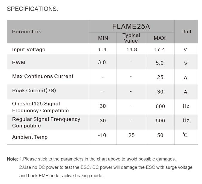 Характеристики регулятора T-Motor Flame 25A