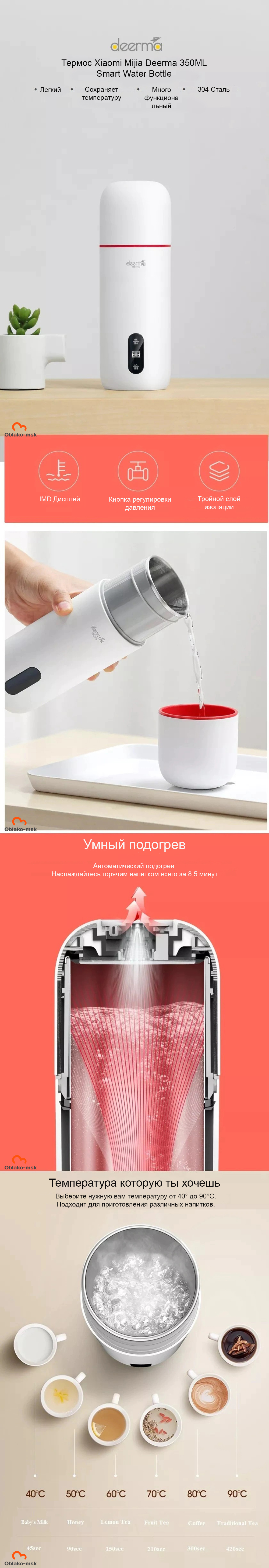 Термос Xiaomi Mijia Deerma 350ML Smart Water Bottle