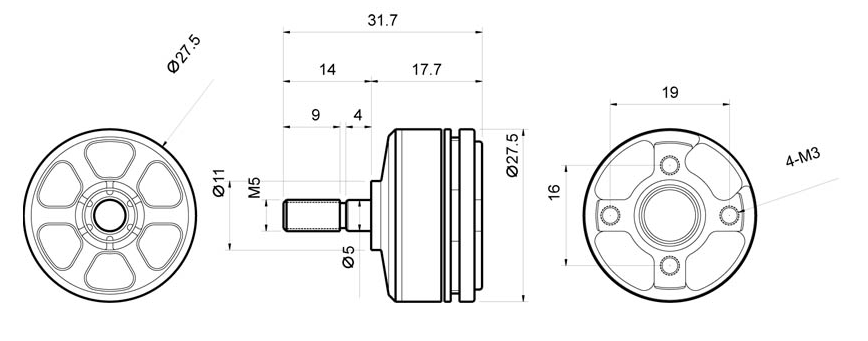 Чертёж мотора T-Motor F40 KV2300 v2.0