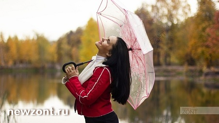 Прозрачный розовый зонт-наоборот umbrellas girls
