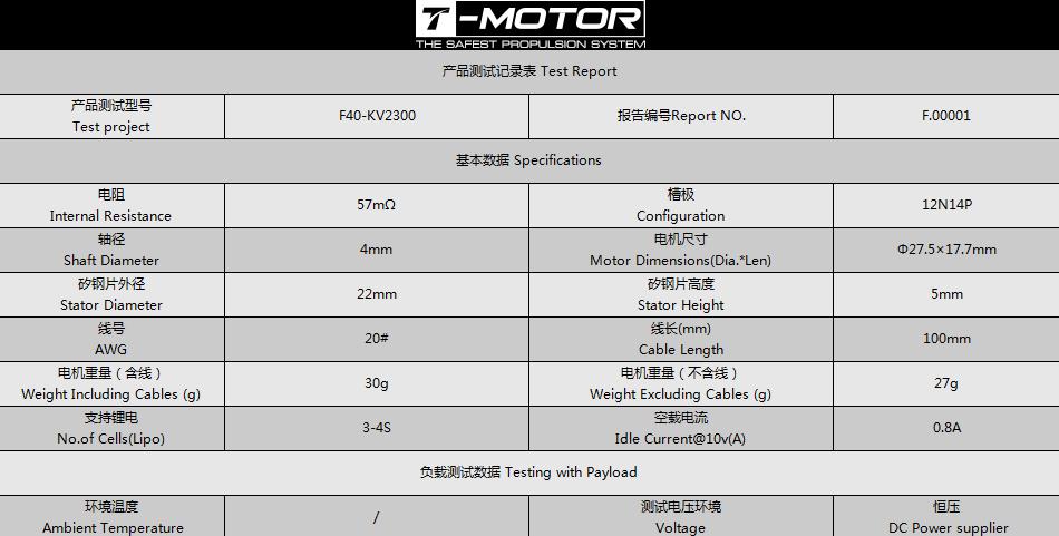 Характеристики T-Motor F40 KV2300 v2