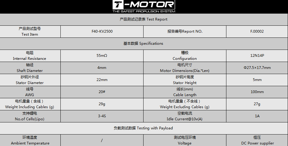 Характеристики T-Motor F40 KV2500 v2