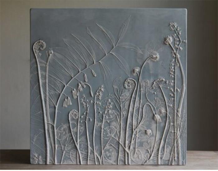 панно с растительным дизайном из гипса