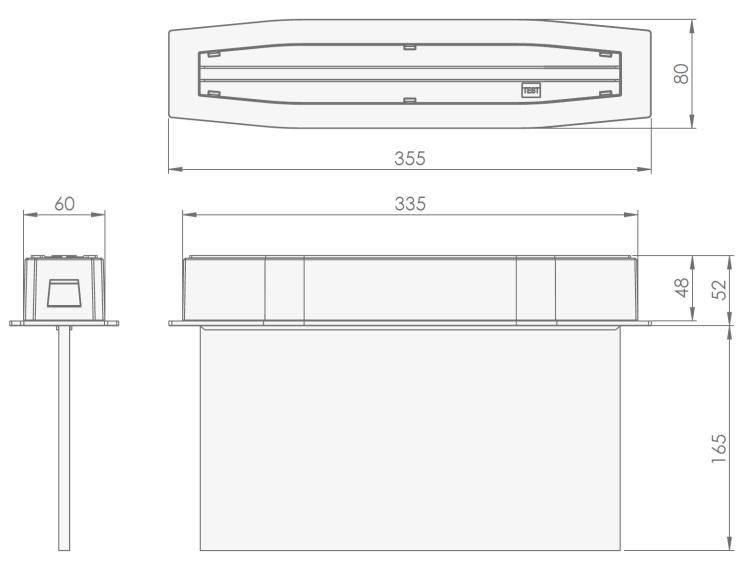 Встраиваемые световые указатели Suprema LED D-std PT IP54 Intelight – размеры и чертеж