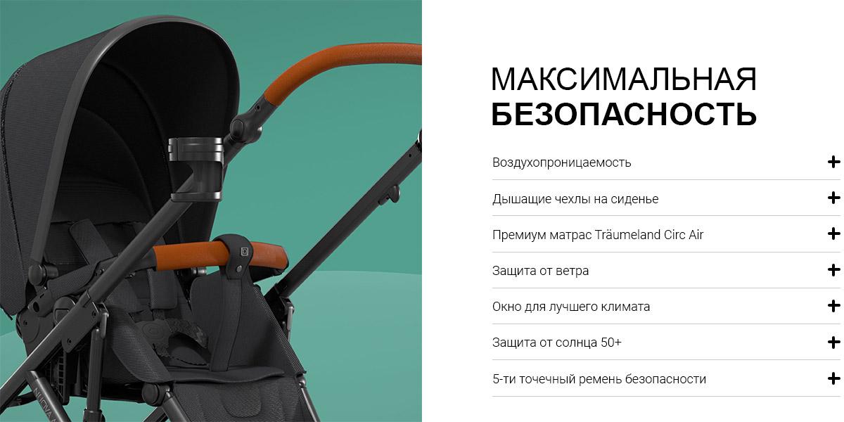 МАКСИМАЛЬНАЯ БЕЗОПАСНОСТЬ  Воздухопроницаемость Воздухопроницаемые материалы обеспечивают лучший микроклимат в NUOVA AIR.  Дышащие чехлы на сидении Прогулочный блок NUOVA AIR изготовлен из дышащей ткани, улучшающей циркуляцию воздуха и снижающей потоотделение, особенно летом.  Премиум матрас (CIRC AIR) Вместе с нашим эксклюзивным партнером Träumeland мы предлагаем высококачественный дышащий матрас для детской коляски. Являясь частью системы CIRC AIR, он способствует улучшению циркуляции воздуха внутри люльки. Это гарантирует оптимальный комфорт сна в любое время и в любом месте.  Ветронепродуваемая Наша NUOVA AIR защищает малышей от ветра и сквозняков.  Окно климатической зоны В дополнение к системе CIRC AIR, встроенные окна климатической зоны поддерживают циркуляцию воздуха внутри NUOVA AIR.  Защита от солнца 50+ Младенцы не должны находиться под палящим солнцем слишком долго. Окно на капюшоне NUOVA AIR предлагает защиту от ультрафиолета 50+ и достаточную тень.  5-точечные ремни безопасности Регулируемые 5-точечные ремни безопасности удобны для маленьких пассажиров благодаря комфортной набивке.