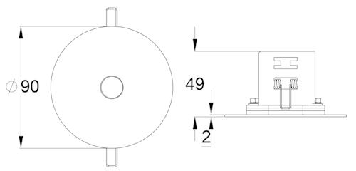 Чертеж светильника аварийной подсветки c с асимметричным светораспределением серии SLIMSPOT II