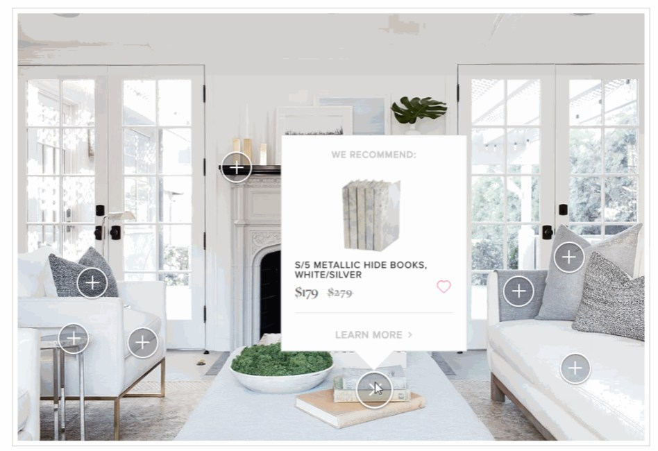 Shoppable изображения товаров на сайте