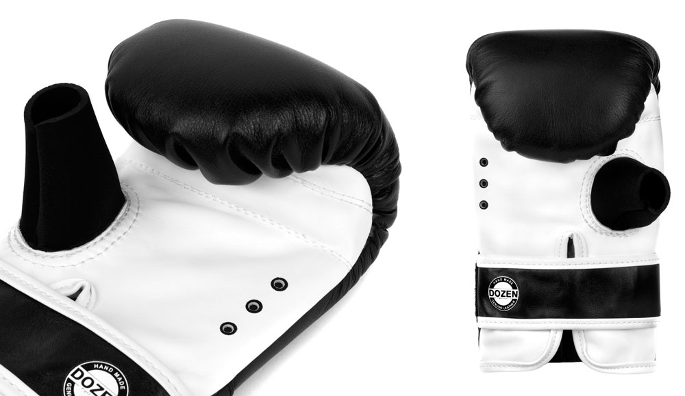 Снарядные перчаткик Dozen Fight Gear черные вентиляция и влагоотвод