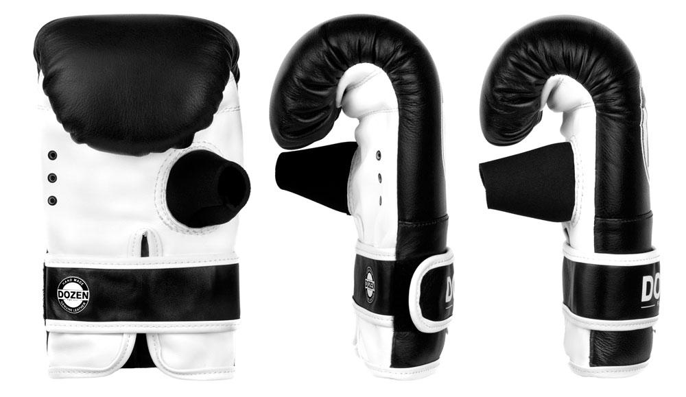 Снарядные перчаткик Dozen Fight Gear черные доворот конструкции и анатомическая форма