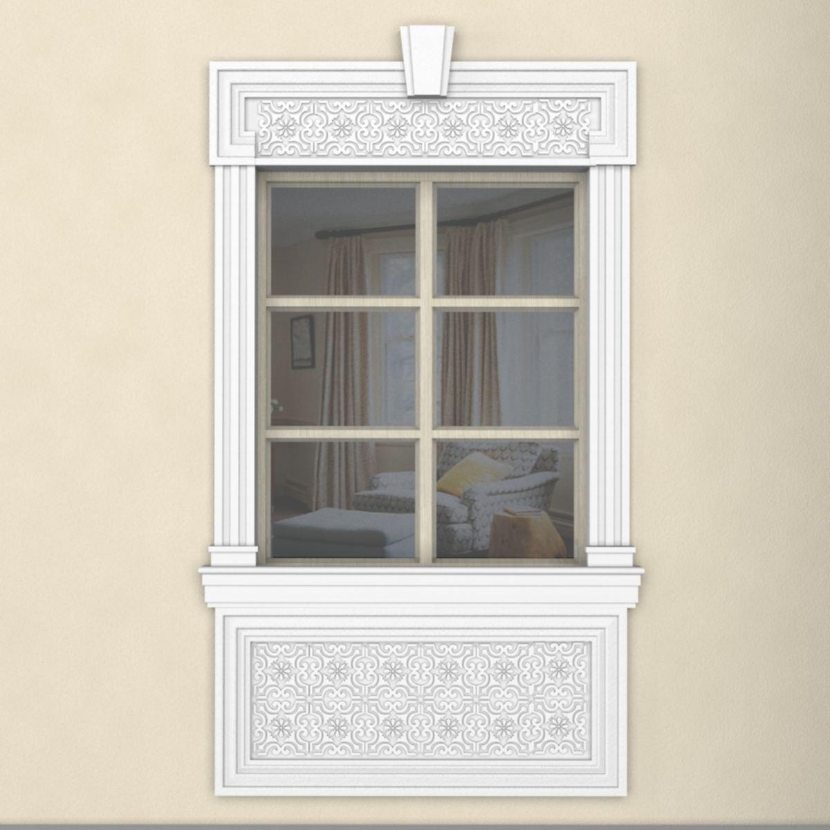 Отделка окна снаружи лепным декором из пенопласта
