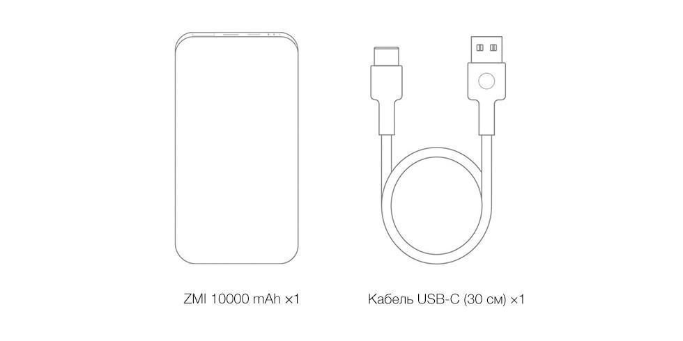 Внешний аккумулятор Xiaomi ZMI Mobile Power QB910 10000 mAh (серый)
