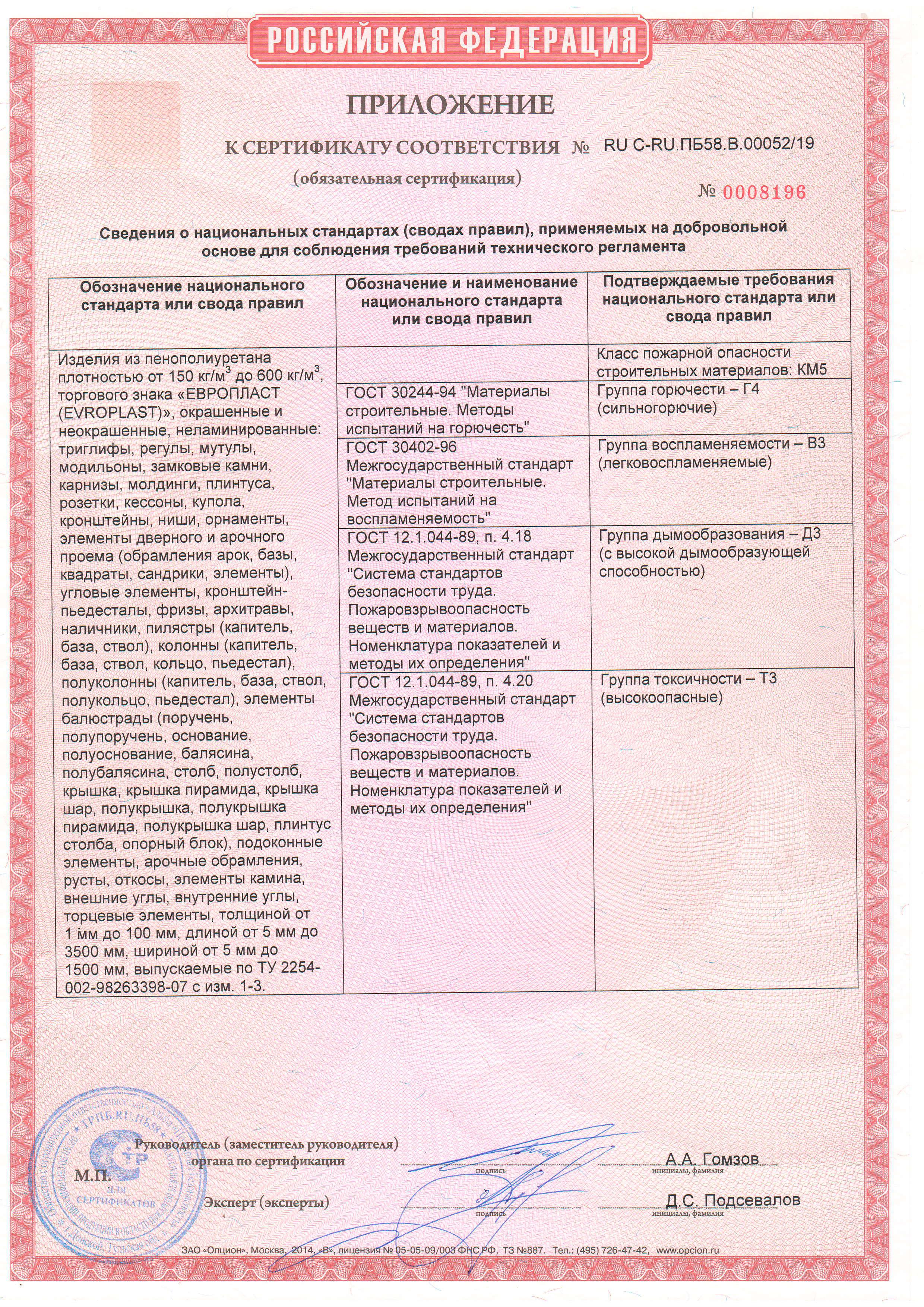 Сертификат пожарной безопасности. Подтверждает, что продукция изделия из пенополиуретана т.з.