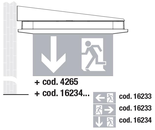Настенный монтаж в виде флага светодиодных светильников аварийного освещения Aestetica LED с дополнительным двухсторонним табло
