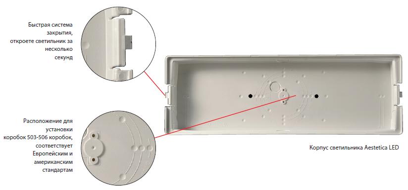 Монтажная коробка для светодиодного светильника аварийного освещения Aestetica LED