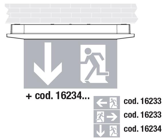 Накладной монтаж светодиодных светильников аварийного освещения Aestetica LED с дополнительным двухсторонним табло