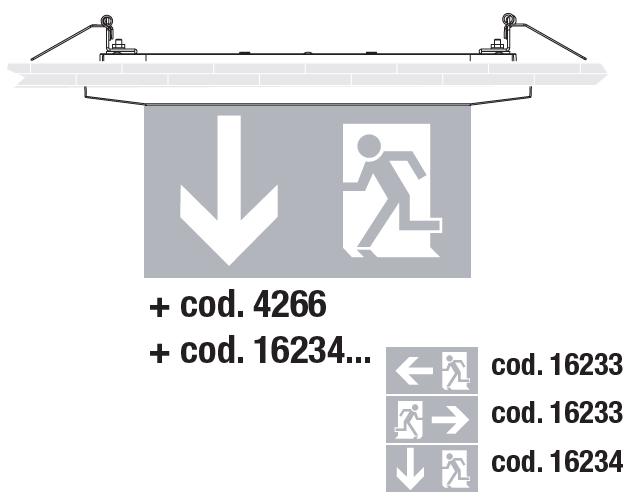 Встраиваемый монтаж светодиодных светильников аварийного освещения Aestetica LED с дополнительным двухсторонним табло
