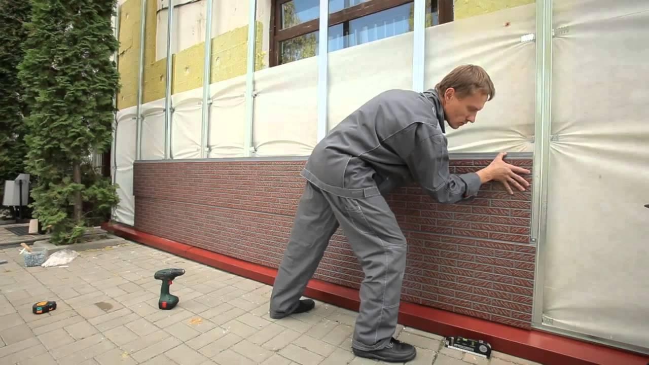 Монтаж фасадных панелей
