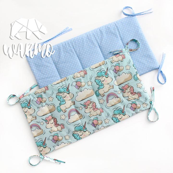 бортики в кроватку голубі в білу точку фото