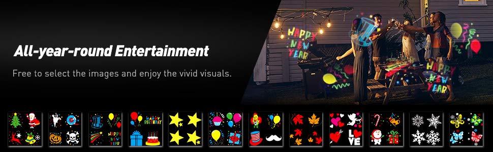 24 картинки 6 слайдов лазерный уличный проектор картинок для дома улицы