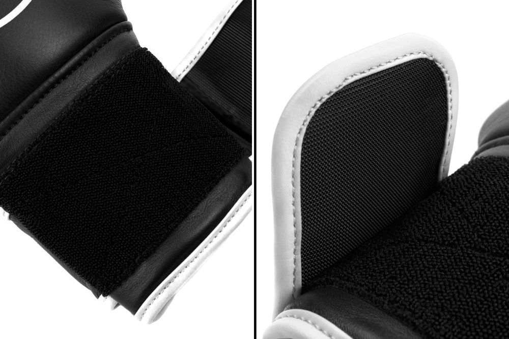 Вид фиксации черно-белых боксёрских перчаток Dozen Monochrome