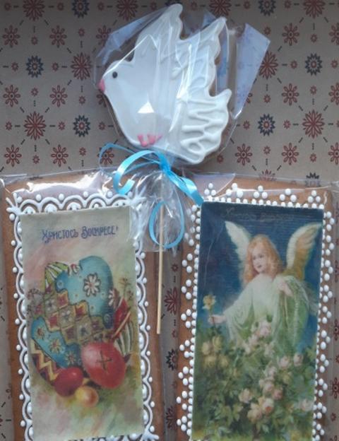 Безглютеновый подарочный набор к пасхе 2 Открытки и голубь