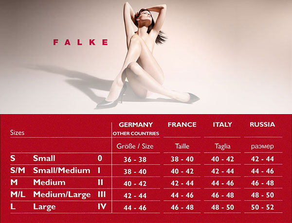 Таблица размеров женских чулок Falke