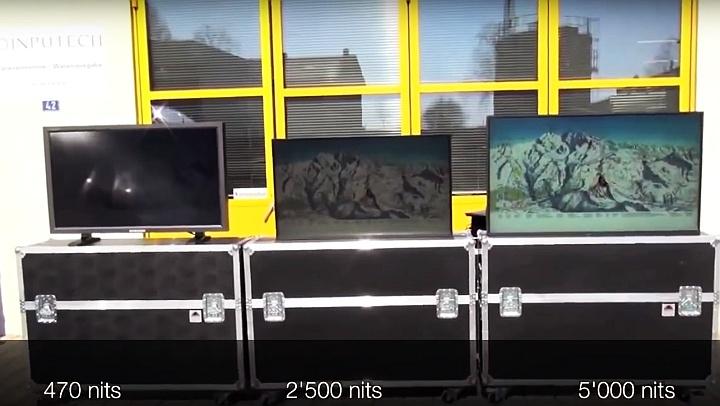 Сравнение изображения на рекламных светодиодных панелях с различной яркостью