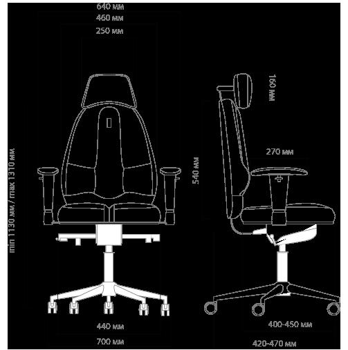 Габариты кресла KULIK SYSTEM CLASSIC